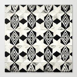 Tribal Shibori Stars Black and Cream Canvas Print