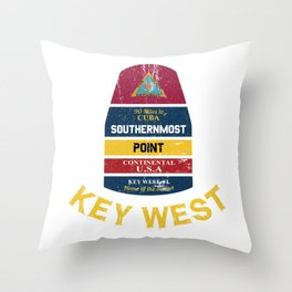 Key West - Southern Most Point Distressed Marker Souvenir Throw Pillow