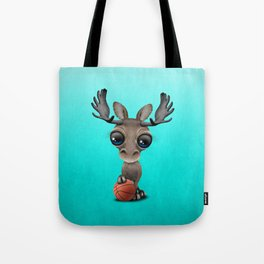 Cute Baby Moose Playing With Basketball Tote Bag