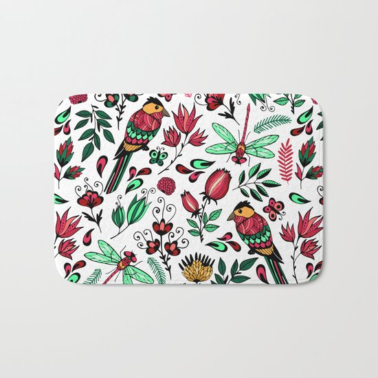 Birds and dragonflies Bath Mat