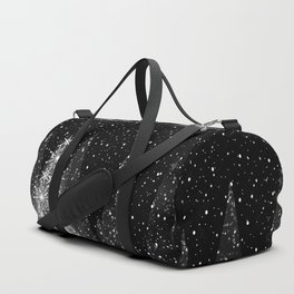 Elegant Black and White Christmas Trees Holiday Pattern Duffle Bag