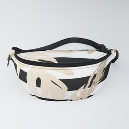 Simply Tropical Palm Leaves on Stripes Fanny Pack