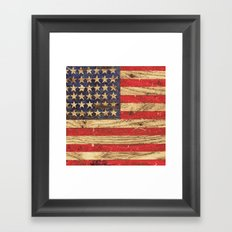 Vintage Patriotic American Flag on Old Wood Grain Framed Art Print