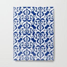 Ikat Moorish Damask, Cobalt Blue and White Metal Print