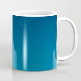 Ombre Ocean Blue Dahlia Flowers Coffee Mug
