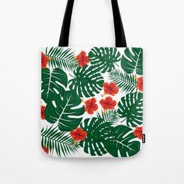 Tropical Leaves Hibiscus Flowers Tote Bag