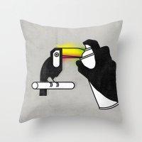 toucan Throw Pillows featuring Toucan by martiszu