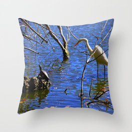 Egret and Turtle: Opposites Attract (Chicago North Pond Collection) Throw Pillow
