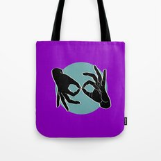 Sign Language (ASL) Interpreter – Black on Turquoise 06 Tote Bag