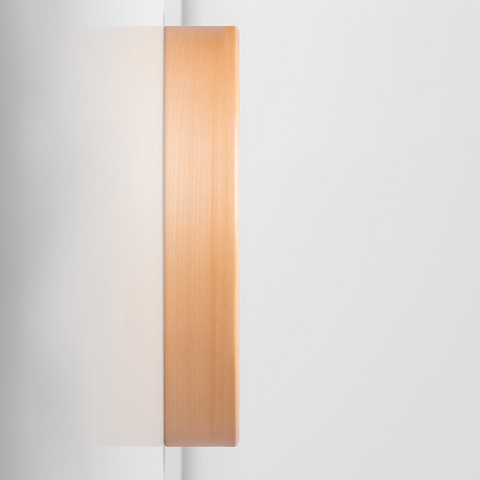 Exhale: a pretty, minimal, acrylic piece in pinks, blues, and gold Wall Clock
