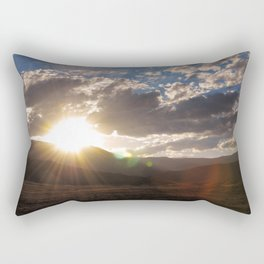 Wyoming Sunset with Lens Flair over the Beartooth Moutains Rectangular Pillow