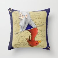 dumbledore Throw Pillows featuring Albus Dumbledore by Imaginative Ink