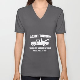 camel towing when it's wedged engineer dad Unisex V-Neck