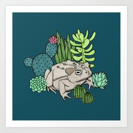 Toad with Succulents - Dark Turquoise Art Print