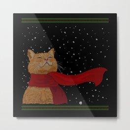 Knitted Wintercat Metal Print