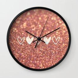 Glittered Hearts Wall Clock