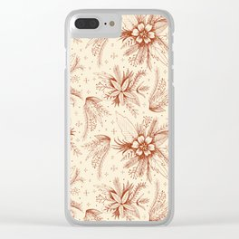 red sketchy floral pattern Clear iPhone Case