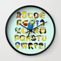 simpsons Wall Clocks featuring Simpsons Alphabet by Mike Boon