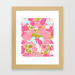 Pink Roses with Aqua & Gold Chic Watercolor Floral Framed Art Print
