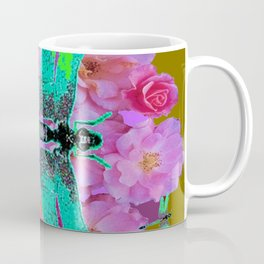 EMERALD DRAGONFLIES  PINK ROSES AVOCADO COLOR Coffee Mug