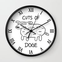 doge Wall Clocks featuring CUTS OF DOGE by Yiji