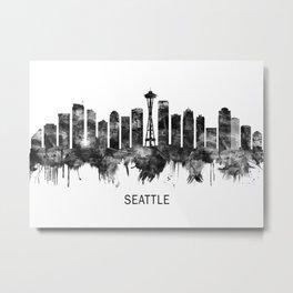 Seattle Washington Skyline BW Metal Print