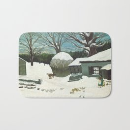 New England Farm in Winter, 1850 Bath Mat