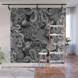 The Kraken (Black & White, Square, Alt) Wall Mural