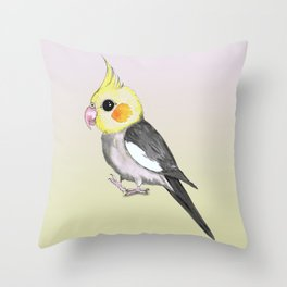 Very cute cockatiel Throw Pillow