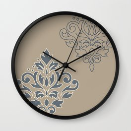 Scroll Damask Art I (outline) Crm Blues Sand Wall Clock