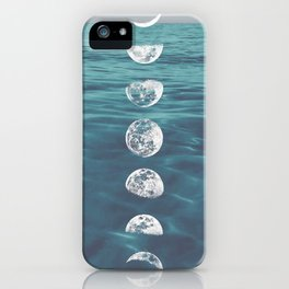 Moon on Blue Ocean iPhone Case
