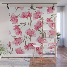 Abstract Digital Watercolor Painting Pink Carnation Blooms on White Pattern Wall Mural