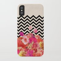 flora iPhone & iPod Cases featuring Chevron Flora II by Bianca Green