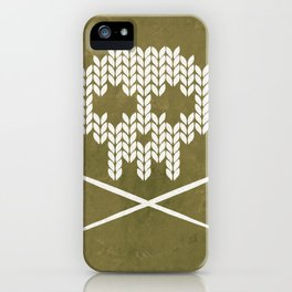 Knitted Skull / Knitting with Attitude (white on olive yellow) iPhone Case