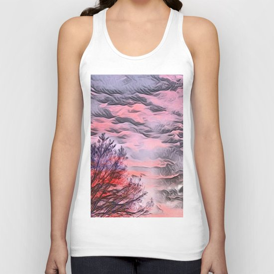 A German Sunset Sky with Tree (Landscape Nature) Unisex Tank Top
