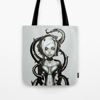 carnage Tote Bags featuring The Flower of Carnage by Giulio Rossi