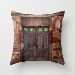 Doorway and Ristras in Lincoln, NM. Throw Pillow