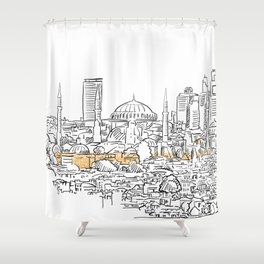 Modern and old Istanbul panorama drawing Shower Curtain