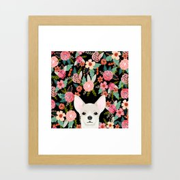 Chihuahua face floral dog breed cute pet gifts pure breed dog lovers chihuahuas Framed Art Print