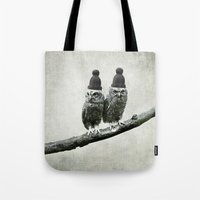 owls Tote Bags featuring Owls by Juste Pixx Designs