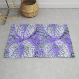 LILAC VEINED TROPICAL LEAVES PATTERN ART Rug