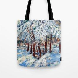 Snow in October by Dennis Weber / ShreddyStudio Tote Bag