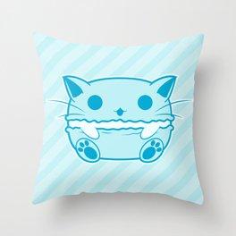 Blue Kawaii Cat Macaroon Throw Pillow
