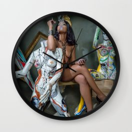 Nude Woman Smoking with Brightly Colored Manequins Wall Clock