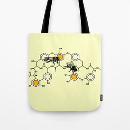 Bees making honey on macromolecular structure as a bee house  Tote Bag