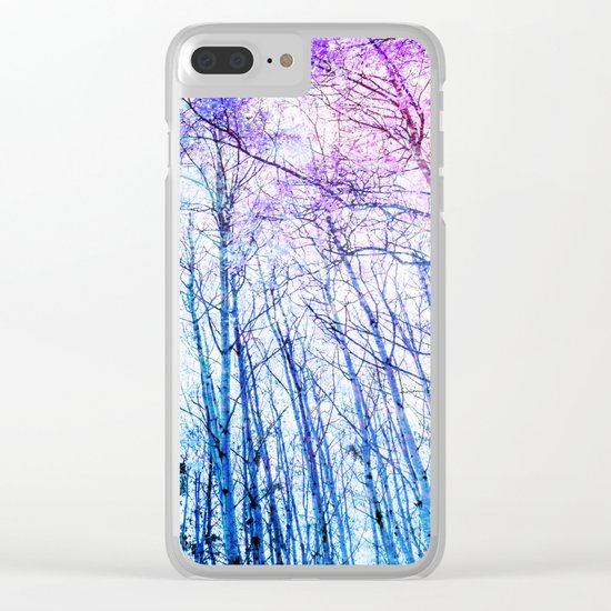 Blue Forest Purple Leaves Clear iPhone Case