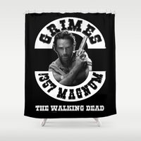 grimes Shower Curtains featuring Rick Grimes & .357 Magnum by SwanniePhotoArt