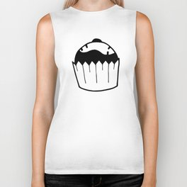 Black and white cupcake Biker Tank