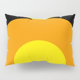 Two suns, one yellow with orange rays,the other orange with yellow rays,both floating in a black sky Pillow Sham