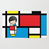 mondrian Area & Throw Rugs featuring Kokeshi Mondrian by Pendientera